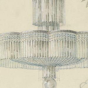 Gouache on paper drawing depicting stepped, scalloped, chandelier suspended from a crystalline starbust ceiling medallion.