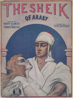 Sheet music featuring a man and woman on the cover, standing under a rounded archway supported by columns with a night sky in the background. Title written in stylized lettering.
