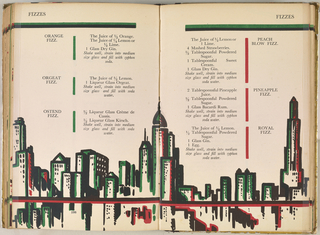Book, Double Page Spread With New York Skyline Illustration, Pp. 198-199, The Savoy Cocktail Book, 1930