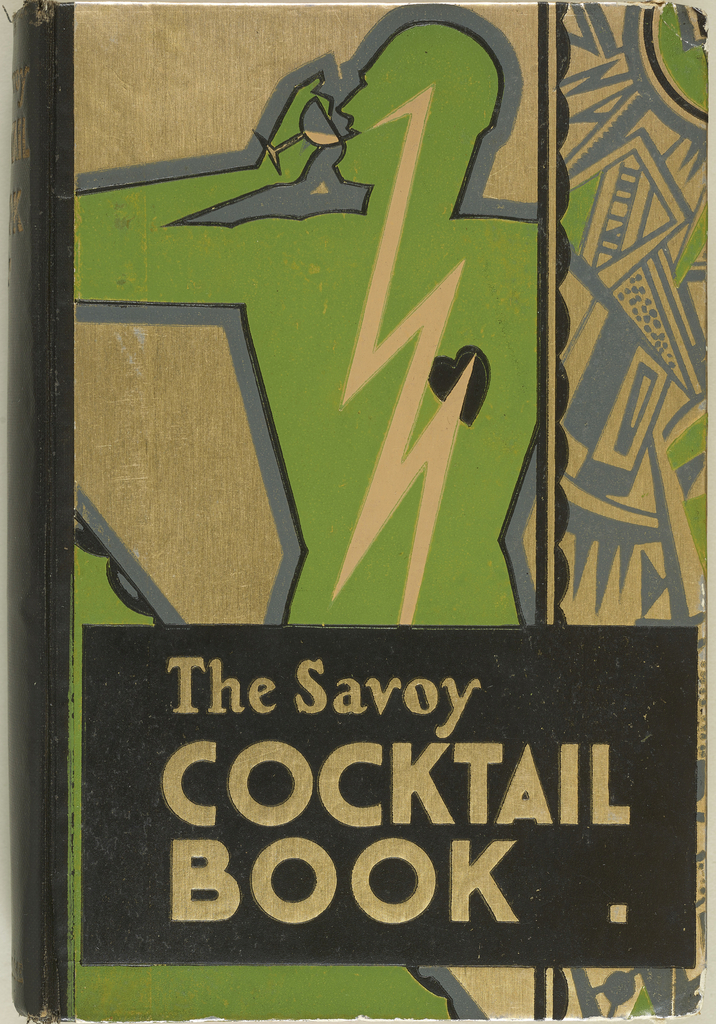 Cocktail book with distinctively art deco cover in gold, green, and black. A man is depicted on the cover, gramed by a mosaic-style geometric pattern.