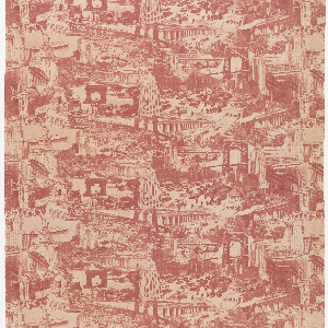 Length of printed cotton with a photo-montage of New York City buildings, bridges and sites, in red on white. Includes the Chrysler, Empire State and Woolworth buildings, the Statue of Liberty, statue of W.T. Sherman, the Brooklyn and Manhattan bridges, Grand Central Terminal, and the old Penn Station.
