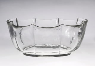 Mouth-blown crystal, exact shape cut, half-polished surface cutting, meant to imitate rock crystal