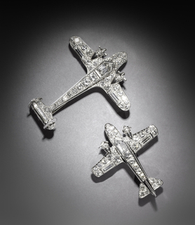 Pair Of Airplane Brooches