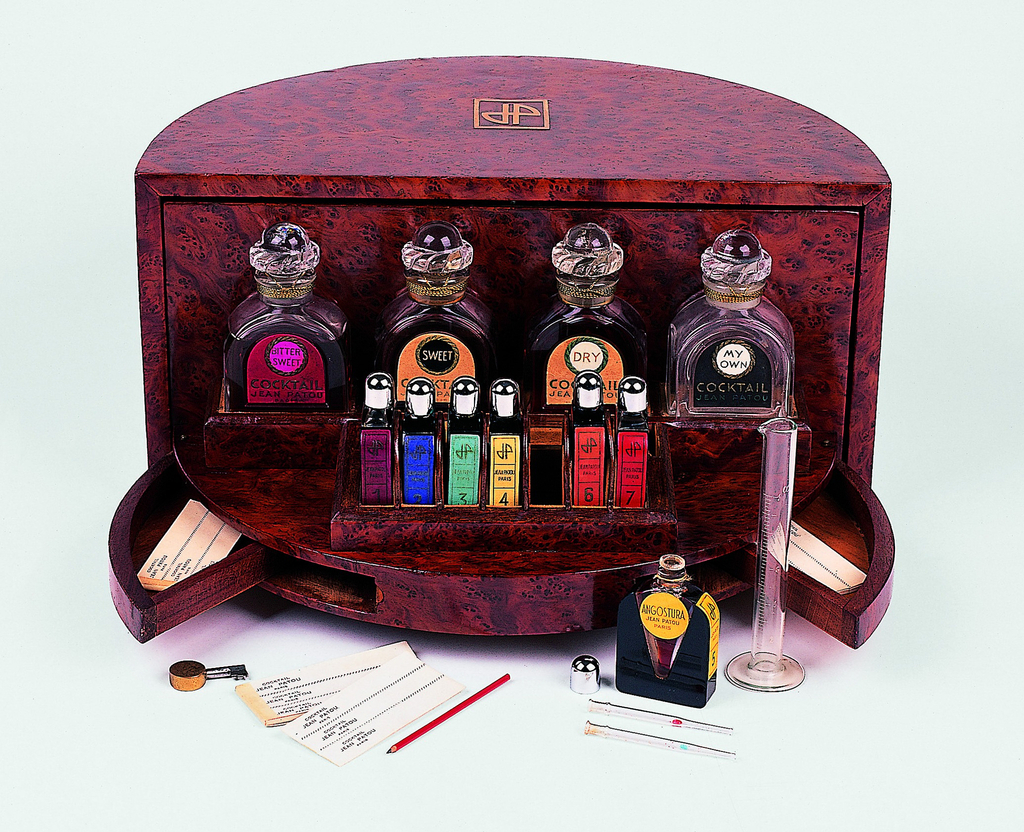 """Contains set of four flacons, """"Bittersweet,"""" """"Sweet,"""" """"Dry,"""" """"My Own,""""; set of 7 smaller flacons, """"Angostura no. 1"""" through """"Angostura no. 7""""; and other accessories"""