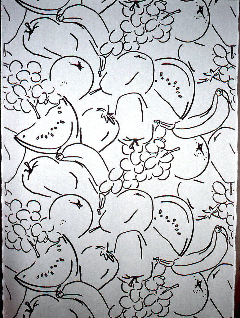 Black outlines of fruit (grapes, watermelon, bananas, apples, pears, and strawberries) on a white ground.
