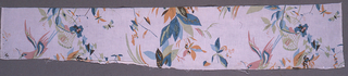 Flowers, baskets, butterflies and birds in muted primary colors on un-dyed background. Length too short for full height of repeat unit. 6 colors or blocks: 2 blues, green, pink, orange, olive.