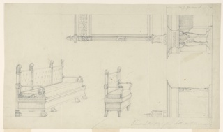 "Design for sofa at left, chair in center, both shown obliquely from the front corners. The sofa is supported at the front by four lion feet. The lower ends of the arms of the sofa stand upon the heads of crouching winged lions with scrolls as foils. The seat and the back are upholstered, the latter in three sections which are framed by poles with lion heads carrying wings, on top. The chair is of a similar design, but the legs and the arms are without animal forms. At right is, vertically, the right half of a console table. The top is shaped like an entablature. It is supported at the corner by a lion chimaera, in the center by a pilaster. Something is shown standing upon the table. Vertically at upper right is the left half of a console table with looking glass. The console consists of a back side and the supports formed by pairs of winged lion chimaerae standing with the backs to one another. The upper part forms an entablature. The height is indicated as in 1938-88-546: ""p. rom 422"". The frame of the mirror is supported by pairs of claws. It has laterally columns with a row of female heads below the capitals. Knobs are laterally on top. Above the inner frame is a decorated frieze."