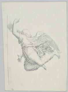 Vertical format. Flying angel shown directed toward left. The raised left arm with finger pointed covers most of the face. The right hand is lowered, legs are bent back. Framing line at left.