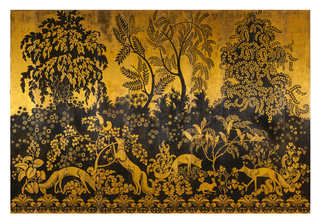 Ten-panel screen of gilt and lacquered wood with patinated bronze depicting a series of foxes in a forest setting; the flat perspective of the scene is bordered at top by a leafy canopy and at bottom by repeating vegetal decoration.
