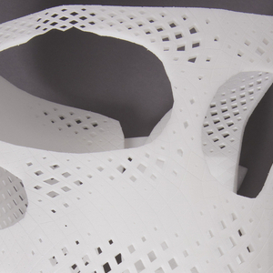 Asymmetrical, biomorphic white nylon form of pierced and purforated lattice pattern, custom-designed and printed to wrap around a specific wearer's torso. Contains miniature computer processor (Intel Curie module).