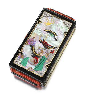 Vanity case, the front and reverse each decorated with a mosaic depicting a dragon and mountain peaks, scenes are edged in black enamel, terminals in carved coral and sides with mother-of-pearl panels, with a coral and diamond thumbpiece; interior with two compartments and a fitted mirror