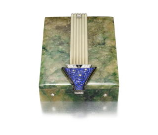 Jadeite box with a striated rock crystal column terminating in an arrow motif with roses at center, with diamond-set button clasp, mounted in white and yellow gold