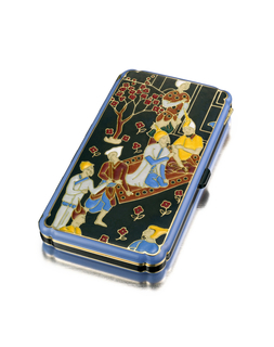 Rectangular vanity case decorated in polychrome enamel with a scene of a Persian prince kneeling on a patterned carpet, surrounded by couturiers and attendants within a garden; with onyx thumbpiece; interior with fitted mirror and two compartments