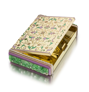 Rectangular vanity case with central motif depicting a Persian and floral scroll design, reverse is similar but simplified, both framed by mauve enamel, with diamond-set thumbpiece; interior with fitted mirror and two compartments