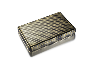 Cigarette case decorated in black enamel dot pattern, the ends applied with black enamel rectangles, interior with fitted mirror and match safe