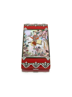 Vanity case decorated with scene of an Islamic prince on a steed with his hunting falcon on an outstretched hand, surrounded by a floral landscape, borders of black and red enamel with diamond-set floriate motifs, mounted in platinum and gold