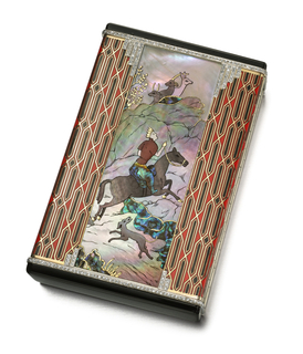 Vanity and cigarette case decorated on the front in the style of a Persian miniature, showing a scene of a king on the hunt aided by a greyhound, scene flanked by geometric pattern that wraps around the back; top and bottom applied with black enamel, with hidden button thumbpiece; interior with fitted mirror compartment; cigarette case
