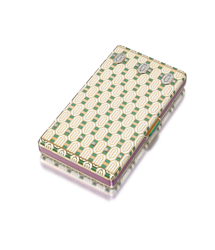 Cigarette case decorated in all-over geometric design, one side of lid with band of rose-cut diamonds, push-piece applied in green enamel