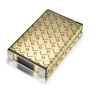 Cigarette case decorated in black enamel with an abstract geometric pattern of squares and chevrons with black enamel borders, the corners decorated with rose-cut and baguette diamonds, two acting as push pieces revealing a match safe and strike-a-light