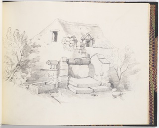 Sketchbook drawing of a house with a wall and a well in back foreground. Small trees at right and left.