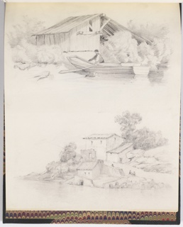 Two sketches on vertical format sheet. At top, a wood shed on a shore, among trees. A figure of a man in a scow on the shore. At bottom, house on a steep shore.