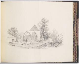 Sketchbook drawing. Two figures of peasants sit on rocks from the ruins of a small church, by the side of the road. Gothic open arches in the walls.