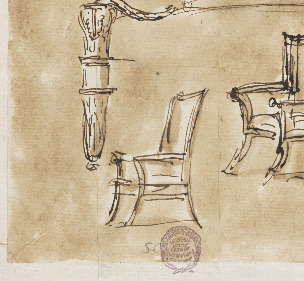 Above at left: an armchair with a plain curved back. At center: a big armchair, a variation of 1901-39-432 with a different frame of the back, circular above and with scrolls at the sides. Below, at left: part of a foreleg and arm support. Below, at right: sketches of two chairs with straight arms and curved angular backs.