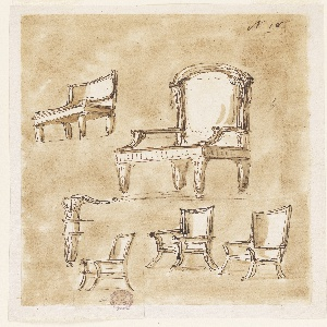 Designs for the five chairs. Seen from an oblique angle, on a washed ground. Detail of one chair leg at lower left.