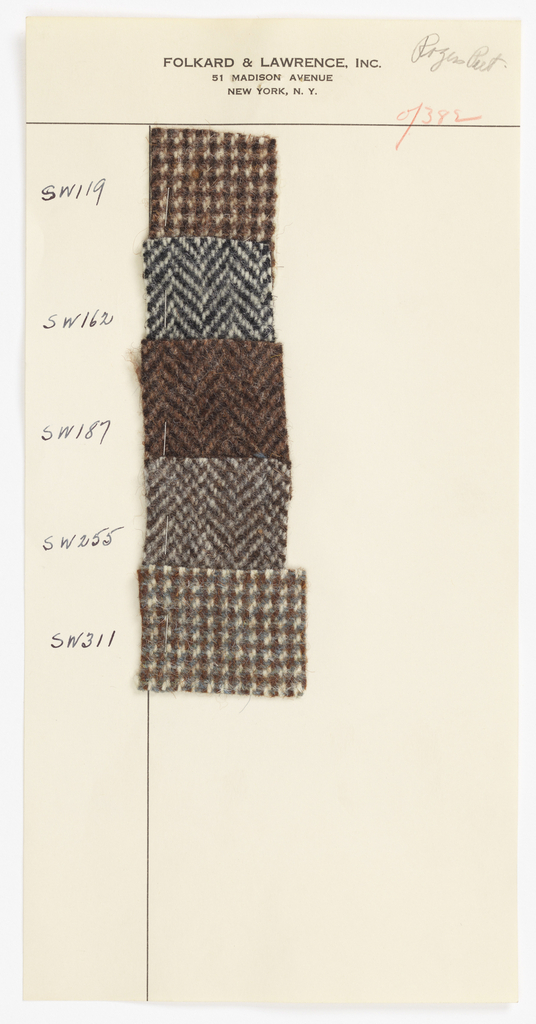 Loose pages with swatches of woolen suiting fabrics imported by Folkard & Lawrence of New York City and sold to Brooks Brothers, J. Press, Chipp, and Saks Fifth Avenue. Samples are twill variations, mainly horizontal herringbone, houndstooth, and diamond.