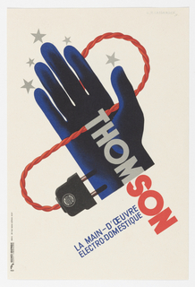 """Light background with a stylized black hand around which curves a red electrical wire, running from the index finger and ending with a two-pronged plug. Silver/grey stars are drawn at the tip of each finger. The brand """"Thomson"""" runs from the palm of the hand and onto the background, with """"Thom"""" printed in silver/grey, and """"son"""" printed in red."""