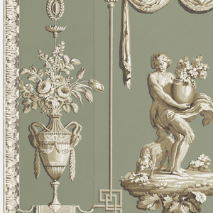 "The sense of smell from the series ""The Five Senses."" Printed in grisaille on green ground. Classically dressed figure holding large urn with branches of foliage; dog stands behind her. Arabesque ornament on either side, pair of swans on top, large urn on lambrequin below."