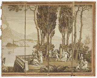 Scenic paper is mounted on an eight-panel folding screen. Printed in grisaille.