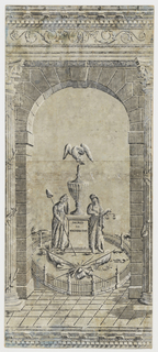 "Pillar and arch design featuring monument to George Washington. Rounded arch flanked by Corinthian columns supporting ornate architrave. In opening, a fenced-in altar with inscription ""Sacred to Washington"", surmounted by urn and eagle, and flanked by mourning figures of Liberty and Justice. In front, trophies of war including arms, drum and flags. Printed in grisaille on originally blue, now gray ground."