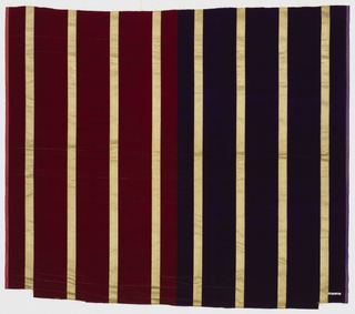 Broad vertical stripes of solid cut velvet alternating with narrow gold satin stripes. Sample shows two colorways.