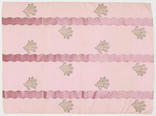 Length of solid pink grosgrain has broad vertical wavy pink velvet stripes and staggered floral sprays in gold and silver metallic thread.