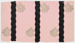 Length of solid light pink grosgrain has broad vertical wavy black velvet stripes and staggered floral sprays in gold and silver metallic thread.