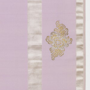 Length of solid light purple grosgrain has broad vertical white velvet stripes and staggered floral forms in gold and silver metallic thread.