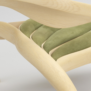 Elliptical S-curve back merging with curved legs that separate into four sections  supporting green suede-upholstered tubular segments that comprise the seat.