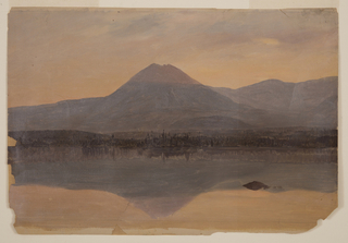 Horizontal view of the Knife Edge.  The mountain which is flanked by  ranges is reflected in the lake.