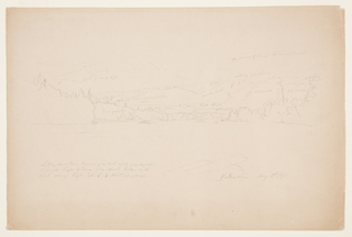 Upper half of paper, view of shoreline and trees.