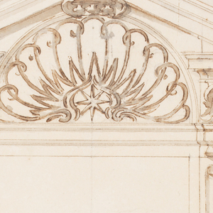 The door case has laterally fluted pillars, tapered towards the base. Above the entablature are capitals with a mask in front, supporting the oblique cornices of a triangular pediment. In the center is a lunette with a railing, including a star. A man walks at left towards the door, in which another awaits him, with his dog standing beside him. Behind him are a boy, a man, two women, a dog, and a tree.