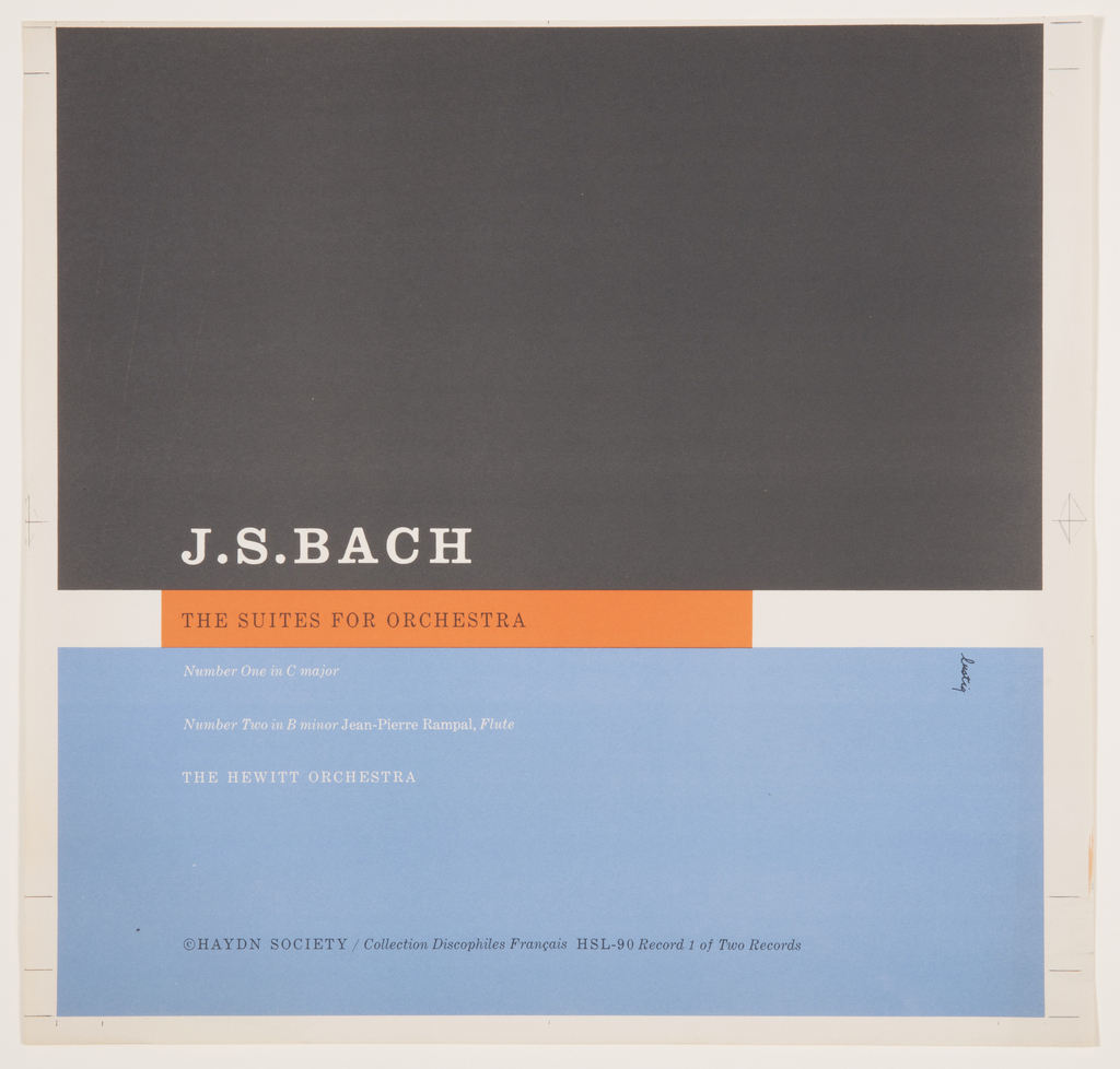 Record Cover, The Suites for Orchestra by J.S. Bach