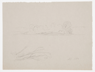 Drawing, Botanical Sketches: landscape, trees at a shore, September 1876