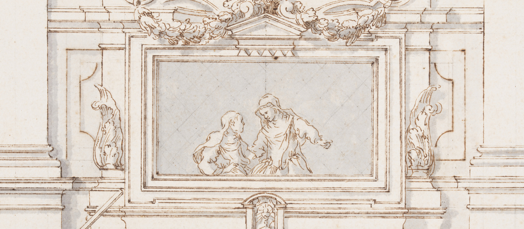 Elevation of a table with caryatid formed cabriole legs. An oval tablet circled with a wreath and hung with festoons. Alternative leg design at left.