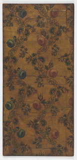 Two ribbons of vining floral motif, the left one with blue flowers, the right with pink flowers. All-over embossed background.