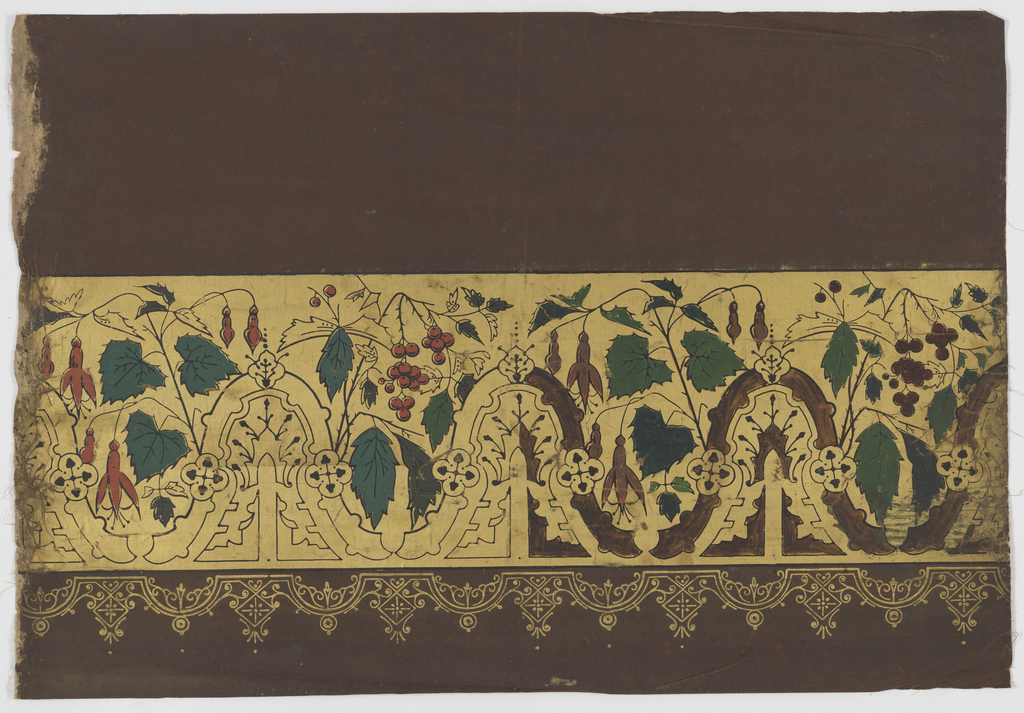 Assortment of leaves and berries along with gothic motifs. Black outline on gold background on brown paper ground.