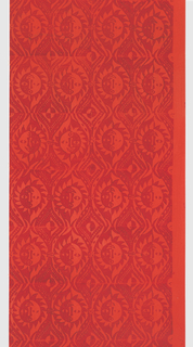 Repeating design of sun motif, shaded light on one side, dark on the other. Printed in bright red-orange on a ground which is a lighter shade of the same color.