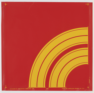 Quarter-circle design printed in bright yellow on bright red ground.