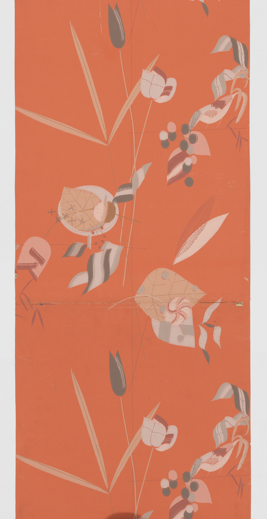 Very stylized bird, flower and leaf forms. Printed in colors on a coral ground.
