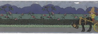 """Nursery or children's border with a stylized farm scene: children driving cows to barnyard, children in vegetable cart, sign """"To Cowslip Farm"""".  Printed in colors on a gray ground. Printed in selvedge: """"Rd No. 700371""""."""